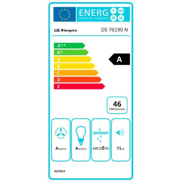 Pegatina consumo electrico campana extractora DS 76190 N